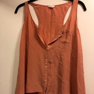 Pink button down silk sleeveless tank